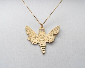 moth necklace, deaths head moth, death moth, hawk moth