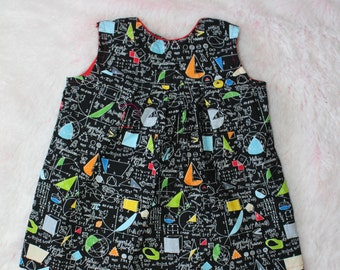 Toddler dress, baby dress, math gift,  math dress , math prints, baby shower gift, science dress, science gift,