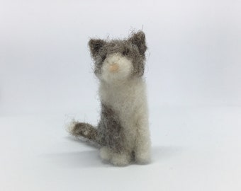 Tiny needle felted cat, miniature gray and white kitty soft sculpture, by Little Bea Studio
