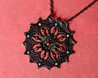 Handpainted Medallion Necklace - Bright Moroccan Delight in Gunmetal - Boho Necklace - Boho Jewelry - Hippie Necklace - Mandala Necklace