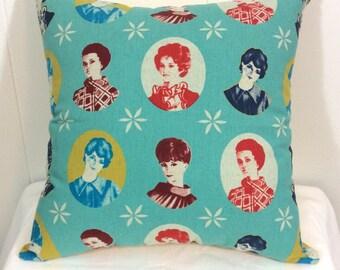 Decorative Pillow, Throw Pillow, Bed Pillow, Couch Pillow, Sofa Pillow, Decorative Throw Pillow, Vintage Ladies Pillow, Accent Pillow