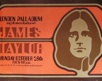 Original 1970 James Taylor at the London Palladium Promotional Poster