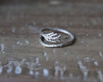Sterling silver juniper ring-Woodland ring-Juniper branch  jewelry-Twig ring-Nature ring-Adjustable  ring-Woodland wedding rings