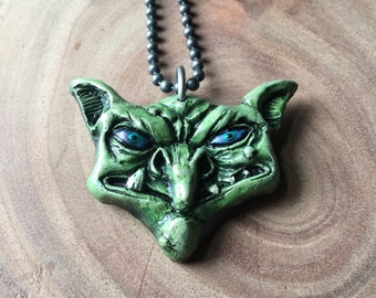 Stinky Goblin Necklace Hand Painted Resin