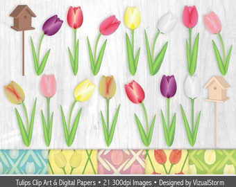 Tulip Clipart Bundle Spring Flowers Clipart and Digital Papers Printable Tulip Backgrounds Tulips Bird Houses Spring Garden Flower Graphics