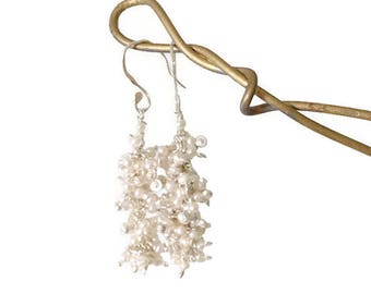 Long 925 Sterling Silver  Seedpearl Cluster Earrings