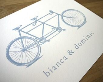 VINTAGE TANDEM BICYCLE LOVE // personalised art print // SMALL