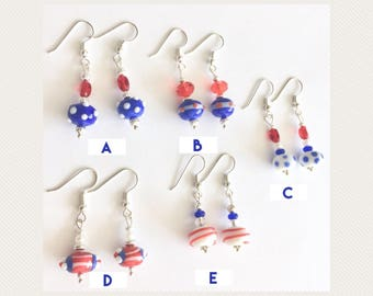 Red white and blue earrings - choice of one of a kind designs - July 4 earrings, American flag earrings, Independence Day earrings