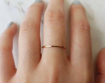 Thin rose gold ring, 14k rose gold fill ring, hammered rose gold ring, rose gold stacking ring, band ring, dainty ring, delicate ring