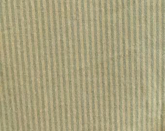 Light Green and Yellow Ticking - Upholstery Fabric by The Yard