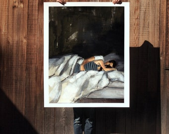 Striped Sleeper . extra large artwork giclee art print