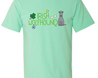 Irish Wolfhound Doodle Garment Dyed Cotton T-shirt