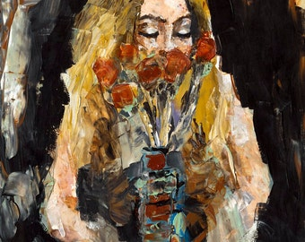 The Flowers | Giclee Art Print, Wall Art, Abstract Portrait Painting, Long Blond Hair, Roses, 5 x7