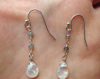 Labradorite and moonstone dew-drops