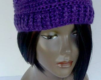 Women Handmade Crochet Headband Ear Warmer, Purple Headband, Fall Winter Hair Accessory, Grape ear warmer