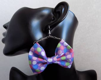 Earring necklace multicolored polka dot bowtie