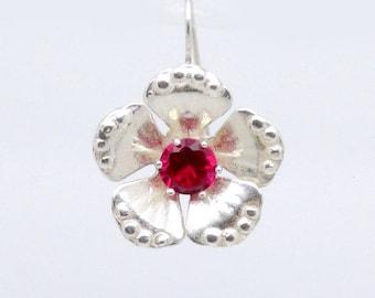 Flower Earrings, Dangle Earrings, BLOSSOM, 925 Sterling Silver Earrings, Red Zircon Earrings, Gemstone Earrings
