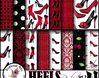 INSTANT DOWNLOAD HEELS Reds set 2 digital papers for scrapbooking with Heels Victorian Corset Angelica and Jane pumps, heels and boots