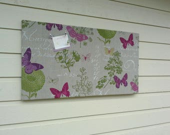 Pin Board in a Botanical print with leaves, ferns and pods, tan and green made with high grade upholstery fabric, twine accent, loft decor