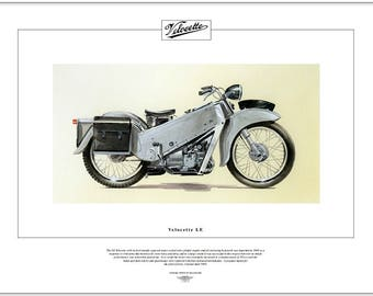 VELOCETTE LE - Motorcycle Fine Art Print 1948-68 192cc Motorbike used by Police