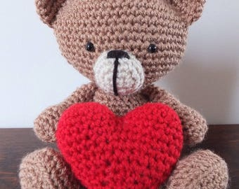 Love Bear / Valentine's Bear / Anniversary Bear / Crochet bear holding heart by Little Gems Crochet