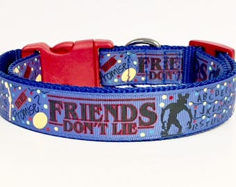 Stranger Things Inspired Dog Collar, Friends Don't Lie, Blue, Elevens Waffles, Horror,