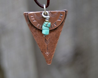 Large Arrow Turquoise Necklace Sterling . Copper. Leather Cord . Handmade .Hand Forged.