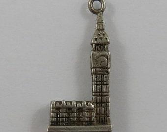 Big Ben Clock Tower Sterling Silver Vintage Charm For Bracelet