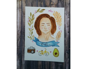 Watercolor Self Portrait / Gift for Best Friend / Photography + Biking + Cooking / Customizeable Hand made portrait