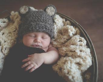 Baby Hat Easy CROCHET PATTERN PDF Bear Beanie Teddy Bear Fuzzy