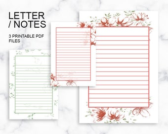 Letter/Notes Printables, 3 Watercolor Flowers Printable PDF Files, A5