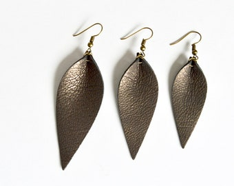 LIMITED EDITION Brushed Pewter Brown Leather Leaf Earrings: Joanna Gaines Inspired Leather Leaf Earrings // Leafy Treetop Leather