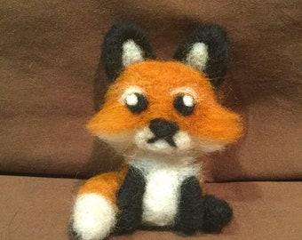 Needle Felt Fox - Fox Ornament - Kawaii Fox - Felt Animal - Fox Plush - Red Fox - Cute - Fox Figurine - Fox Decor - Fox Gift