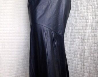 STEPHEN DATTNER - vintage leather fishtail skirt - size 6-8