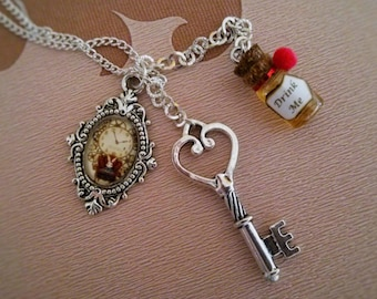 White Rabbit necklace, key and potion Drink Me-Alice in Wonderland