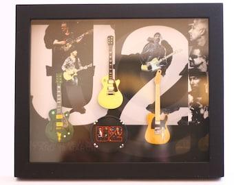 U2 Miniature Guitars Collction in Shadowbox Frame