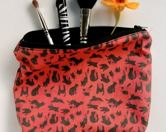 Red Leopard Kitty zippered pouch - cosmetic bag - pencil case