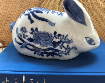Delft Style Blue and White Ceramic Bunny Chinese Floral Chinoiserie Asian Home Decor Hand Painted