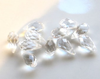 20pcs clear 12x6 mm top drilled Faceted Crystal Glass Briolette Teardrops