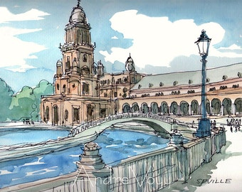 Seville Plaza de Espana Spain art print from an original watercolor painting
