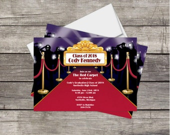 Graduation Party Invitation Red Carpet Hollywood *Class of 2018* graduation Customized for you PRINT YOURSELF or PRINTED Glitter