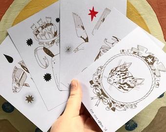 Original Drawings - Brown ink on Lilac card
