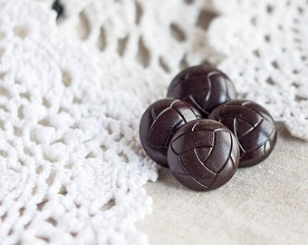Dark brown buttons_football ball shaped_shank buttons_set of four_big round buttons_20 mm 0.78''_metal shanks buttonsholes_chocolate coffee