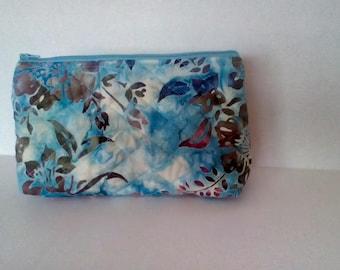 Blue Batik Quilted Zipper Pouch
