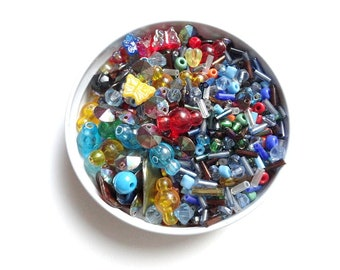 Beads, bunch of beads, see-through beads, round, opaque, butterflies, long, different shapes and sizes, all colors  - 1.58oz (45 grs)