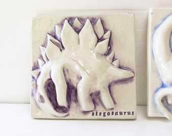 Stegosaurus.  Hand Built Fired Ceramic Dinosaur. Tile Wallhanging.  Recycled Clay. In Purple.