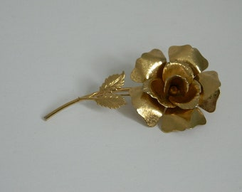 Vintage Gold Tone Statement Rose Brooch
