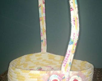 Shabby style Easter basket - yellow/pink/blue/red/multi