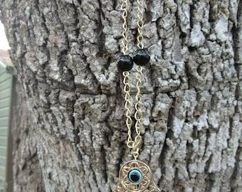 Hamsa Hand Necklace w/ Black Onyx