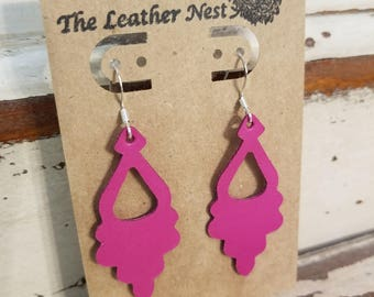 Leather Earrings, Leather Jewelry, Hot Pink, Pink, Statement Earrings, 100% Leather, Chandelier, Drop, Lightweight